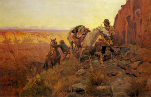 Art Prints of When Shadows Hint Death by Charles Marion Russell