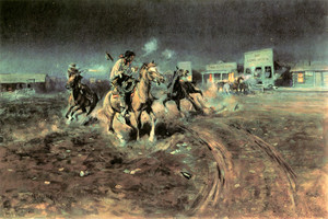 Art Prints of When Guns Speak Death, Settles Disputes by Charles Marion Russell