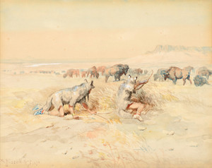 Art Prints of Hunting Buffalo by Charles Marion Russell