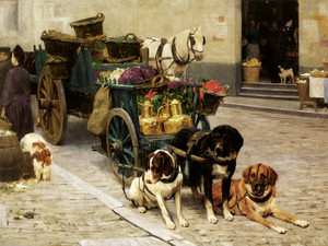 Art Prints of In the Market by Charles Van den Eycken