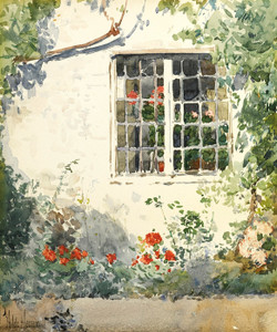 Art Prints of Flowers Against a White Wall by Childe Hassam