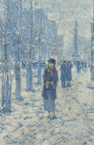 Art Prints of Kitty Walking in Snow by Childe Hassam