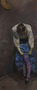 Art Prints of Girl Who Binds Her Garter by Christian Krohg