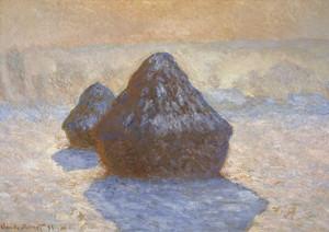 Art Prints of Haystacks, Snow Effect, 1891 by Claude Monet
