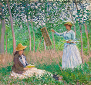 Art Prints of Woods at Giverny, Blanche Hoschede and Suzanne Hoschede by Claude Monet