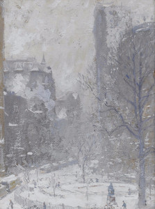 Bowling Green in a Blizzard, New York by Colin Campbell Cooper | Fine Art Print
