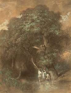 Art Prints of Bathers by a Giant Oak by Constant Troyon