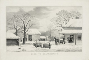 Art Prints of Home to Thanksgiving by Currier & Ives
