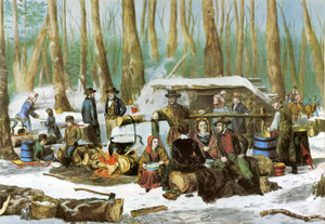Art Prints of American Forest Scene, Maple Sugaring by Currier & Ives