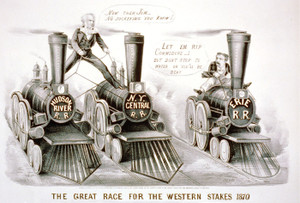 Art Prints of The Great Race for the Western Stakes, 1870 by Currier & Ives