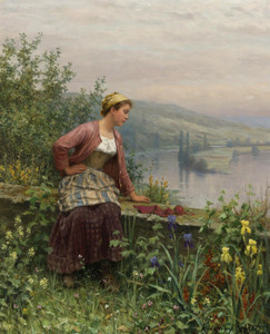 Art Prints of Brittany Girl Overlooking a Stream by Daniel Ridgway Knight