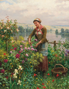 Art Prints of In the Garden by Daniel Ridgway Knight
