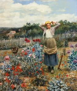 Art Prints of Tending the Garden by Daniel Ridgway Knight