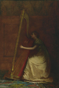 Art Prints of Woman Playing a Harp by Eastman Johnson