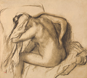 Art Prints of After the Bath, Woman Drying Her Hair by Edgar Degas