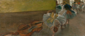 Art Prints of Dancers in the Rehearsal Room with a Double Bass by Edgar Degas