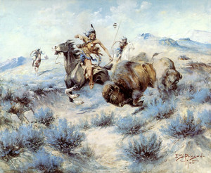 Art Prints of Buffalo Hunt by Edgar Paxson