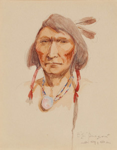Art Prints of Cree Brave, 1910 by Edgar Paxson