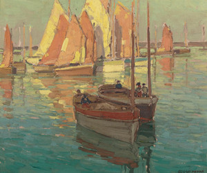 Art Prints of Fishing Boats in a Harbor by Edgar Payne