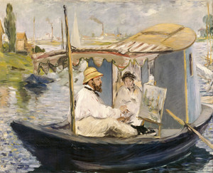 Art Prints of Monet Painting in His Boat by Edouard Manet