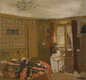 Art Prints of Madame Vuillard Sewing by a Window by Edouard Vuillard