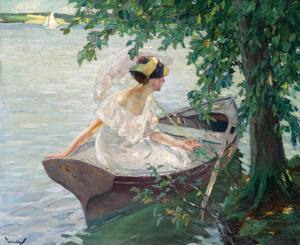Art Prints of An Outing by Boat by Edward Cucuel