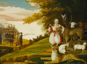 A Peaceable Kingdom with Quakers Bearing Banner by Edward Hicks | Fine Art Print