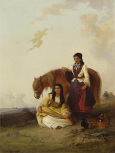 Art Prints of Gypsy Girls and Their Pony by Edward Robert Smythe