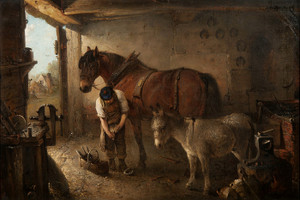 Art Prints of A Farrier Shoeing a Plough Horse by Edward Robert Smythe