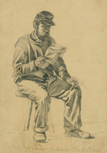 Art Prints of Reading the News, Off Duty (20566L) by Edwin Forbes