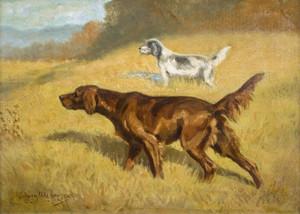 An Irish and English Setter Working a Field by Edwin Megargee | Fine Art Print