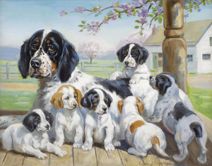 Bess and Her Puppies, English Setters by Edwin Megargee | Fine Art Print