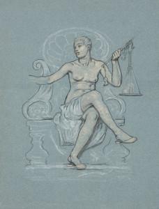 Art Prints of Allegorical Figure of Corrupt Legislation with Scale (23103L) by Elihu Vedder