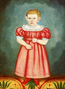 Art Prints of Girl on a Stenciled Carpet by Erastus Salisbury Field