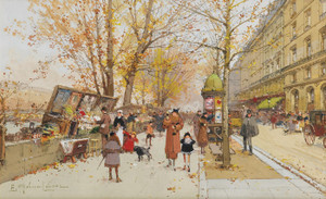Art Prints of Booksellers Wharf, Louvre by Eugene Galien-Laloue