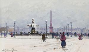 Art Prints of Paris Concorde in the Snow by Eugene Galien-Laloue