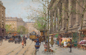 Art Prints of Marche aux Fleurs, The Flower Market by Eugene Galien-Laloue