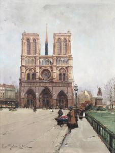 Art Prints of Notre Dame Flower Lady, Paris by Eugene Galien-Laloue