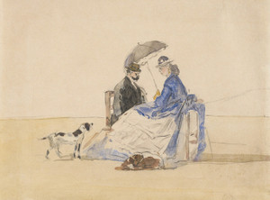 Art Prints of A Couple on the Beach with Two Dogs by Eugene Boudin