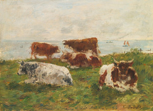 Art Prints of Cows in the Meadow by the Sea by Eugene Boudin