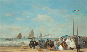 Art Prints of Beach Scene at trouville by Eugene Boudin