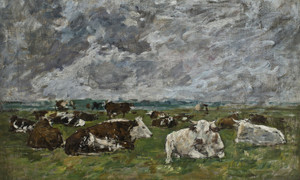 Art Prints of Herd of Cows Under Story Skies by Eugene Boudin
