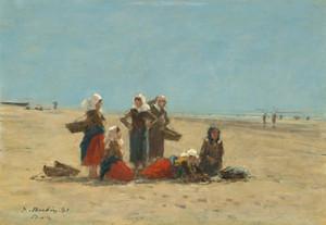 Art Prints of Women on the Beach at Berck by Eugene Boudin