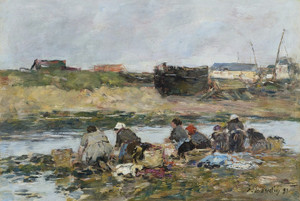 Art Prints of Washers on the Touques near Trouville by Eugene Boudin
