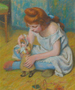 Art Prints of Young Girl Playing with a Doll by Federico Zandomeneghi