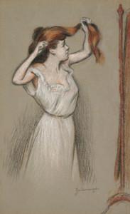 Art Prints of Woman Fixing Her Hair by Federico Zandomeneghi