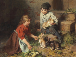 Art Prints of Feeding the Rabbits by Felix Schlesinger