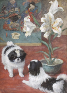 Two Japanese Chin in an Interior by Frances Fairman | Fine Art Print
