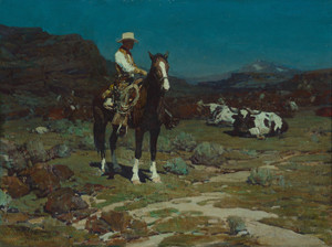 Art Prints of While Trail Weary Cattle are Sleeping by Frank Tenney Johnson