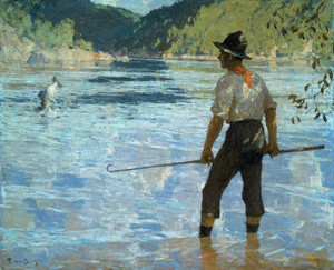 Art Prints of Salmon Fishing by Frank Weston Benson